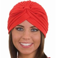 Red Spandex Pleated Turban Adult Psychic Genie Fortune Teller Hat, Men's, Size One Size Fits All