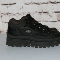 90s Chunky Ankle Boots Black Leather Sneakers US 7 Sketchers Maga Platform Grunge Punk Hipster Gothic Pastel NU Goth Festival Shoes Lace Up