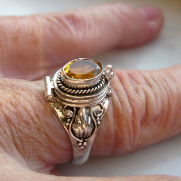 Sterling poison ring citrine poison ring 925 silver poison ring compartment ring rememberance ring cremation ring keepsake ring clearance