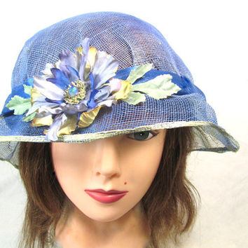 Blue Summer Hat with Reassembled Flower