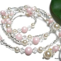 Pink Beaded Lanyard Id Necklace with Swarovski Crystals and Pearls Pastel Rose White Angel