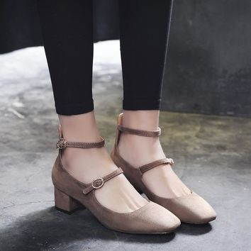 Summer Vintage Suede Square Toe With Heel Shoes [10161907591]