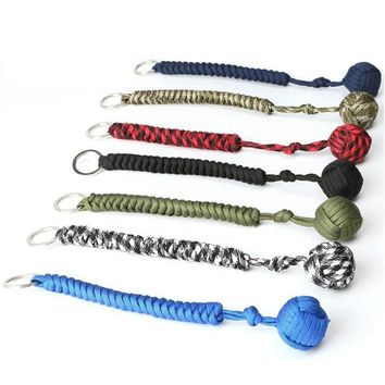 2018 Paracord Lanyard Keychain Outdoor Survival Tactical Military Parachute Rope Cord Ball Woven Paracord