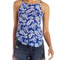 Blue Combo Paisley Print High-Low Tank Top by Charlotte Russe