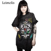Leimolis summer funny 3D print Gothic dark magic skull harajuku kawaii punk rock O-Neck short sleeve t-shirt women tops
