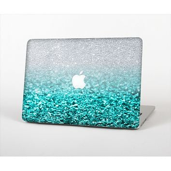 The Aqua Blue & Silver Glimmer Fade Skin for the Apple MacBook Pro 15""