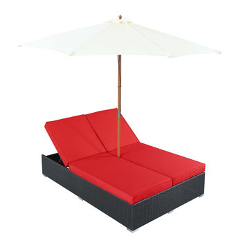 Arrival Outdoor Patio Chaise in Espresso Red