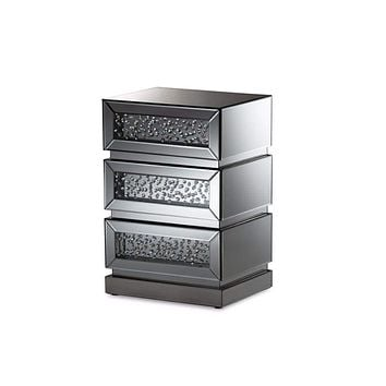 Sabrina Hollywood Regency Glamour Style Mirrored 3-Drawer Nightstand By Baxton Studio