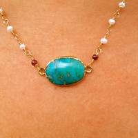 Anabelia Aqua Turquoise Necklace Dipped in 24kt Gold by luxdivine