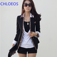 Women Elegant Leopard Blazer 2016 Spring Autumn Ladies One Button Long Sleeve Business Suits Casual Black Basic Jackets