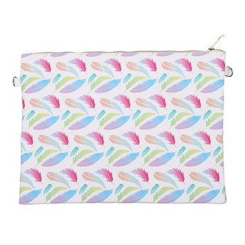 Mulit Color Feather Print Vinyl Crossbody Clutch Bag Accessory