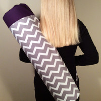 Handmade Yoga Mat Bag - READY TO SHIP - Yoga Tote, Yoga Mat Carrier, Yoga Bag,  Gray & White Chevron with deep Purple Accent