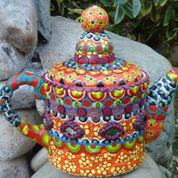 Mad Hatter's Teapot Clay Mosaic Decorated with Shisha Mirrors