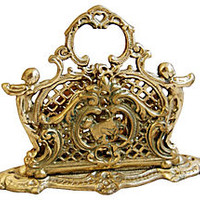 French Brass Letter Desk Organizer