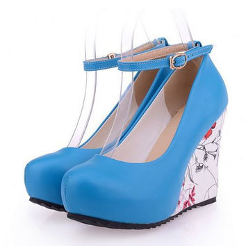 Flower Print Fashion Platform Wedges