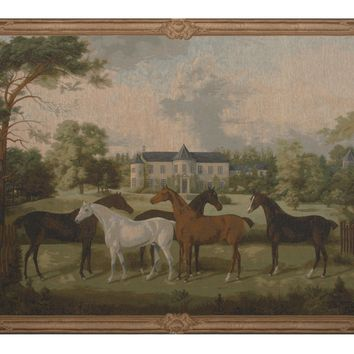 Five English Horses European Tapestry Wall Hanging