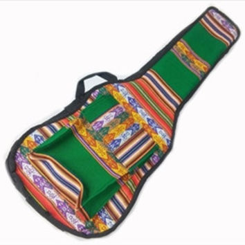 Peru Hand-Made Full-Accent Padded Ukulele Bag in Green India