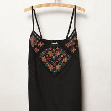 Cosmism Embroidered Tank by Velvet by Graham and Spencer Black