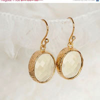 ON SALE Oval Faceted Jonquil Dangle Earrings, Light Yellow Drop Wedding Cocktail Jewelry