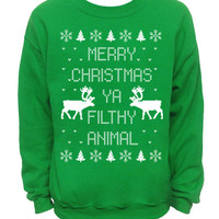 Merry Christmas Ya Filthy Animal- Ugly Christmas Sweater - Green Mens CREW