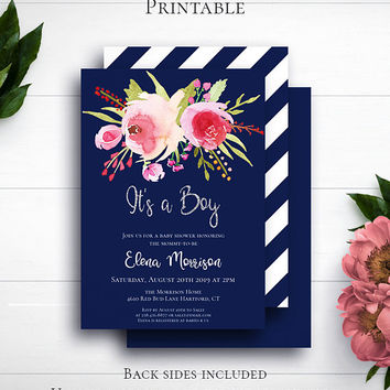 Navy Blue Glitter Baby Invite, Personalized Invite, Shower Invitation, Printable Invite, Baby Boy, Silver Glitter, It's a Boy, Customized