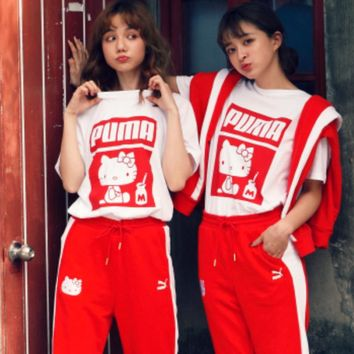PUMA x Hello Kitty Womens Print Short sleeve Top Shorts Sweatpants Set Two-Piece Sportswear