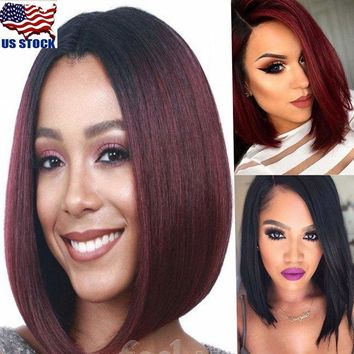 Women's Short Straight Bobo Wig Lace Front Cosplay Party Dress Bob Hair Wigs USA