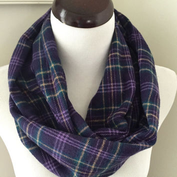 Purple Plaid Infinity Scarf, Purple Flannel Scarf