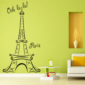 "Eiffel Tower from Paris with Text Words ""Ooh La La Paris"" Wall Sticker Vinyl Decal Bedroom or Living room. Beautiful Art DIY Decor Mural!"
