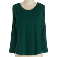 ModCloth Mid-length Long Sleeve Layer on Loveliness Top in Forest