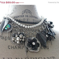SALE Charm Necklace vintage charms victorian by TrueRebelClothing