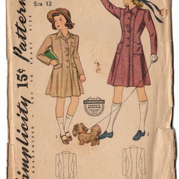 Vintage 1940s Girls Princess Coat Simplicity Sewing Pattern 3993 Button Up Front Knee Length Coat