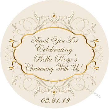 "Ivory & Gold Christening or Baptism Stickers Or Favor Tags - 2.5"" Round"