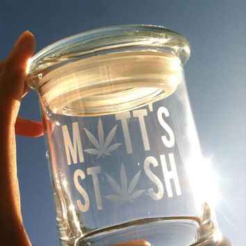 Personalized Glass Stash Jar with Engraving & Airtight - Great Gift!