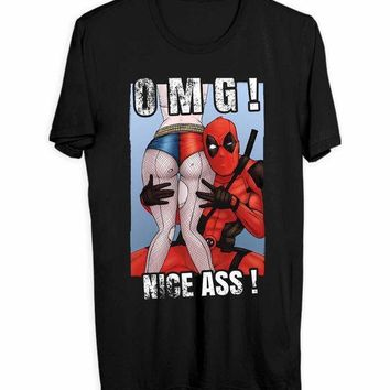 ESBH9S Deadpool And Harley Quinn Adult Movie Men T Shirts