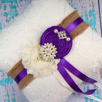 Ring Bearer Pillow / Purple Ring Bearer Pillow / YOU DESIGN / Burlap Purple Ring Bearer Pillow / Burlap Wedding Pillow