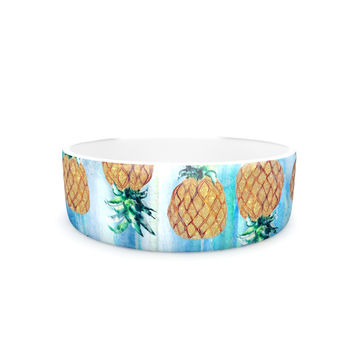"Nikki Strange ""Pineapple Beach"" Blue Brown Pet Bowl"