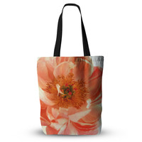 """Pellerina Design """"Blushing Peony"""" Coral White Tote Bag, 13"""" x 13"""" - Outlet Item"""
