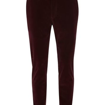 Burgundy Velvet Skinny Tux Pants - New Arrivals - New In