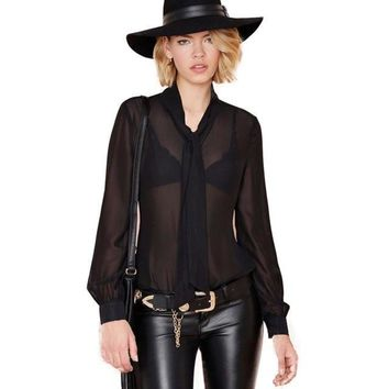 Sheer Chiffon Neck Tie Front Blouse