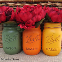 Fall Painted Mason Jars, Set of 3 in Orange Green, Pint, Vase, Three Distressed Home Wedding Bridal, Rustic Shabby Chic, Housewarming Gift