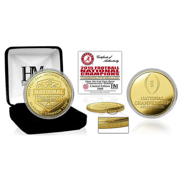 Alabama 2015 College Football National Champions Gold Mint Coin