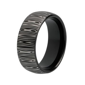 8mm Damascus Steel Pattern Laser Engraved Cool Fashion Mens Tungsten Black Ring Domed and Brushed finish