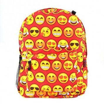 Printed Emoji Backpack-Red