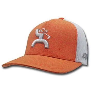 HOOey Golf Hat Coach Heather Orange  White flex mesh L/XL 1824ORWH-02