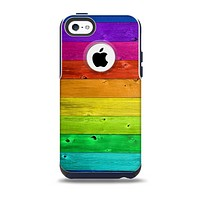 The Rainbow Highlighted Wooden Planks Skin for the iPhone 5c OtterBox Commuter Case