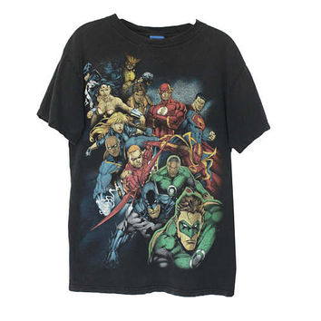 Vintage 90s The Avengers Super Hero T-Shirt Tee | Adult Size Medium |Superhero Comic Character Heros Superman Superwoman Green Lantern Flash