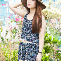 Free Shipping - PomPom Floral Cami Vest & Short Co-ordinates Twin Set
