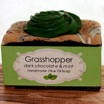 Grasshopper. Dark Chocolate and Mint - Olive Oil Cold Process Soap.