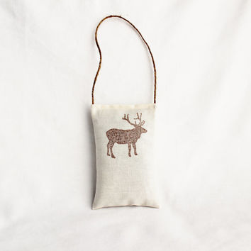 White Christmas Decor, Brown Elk Balsam Sachet Modern Rustic Door Hanger Holiday Decor Hostess Gift